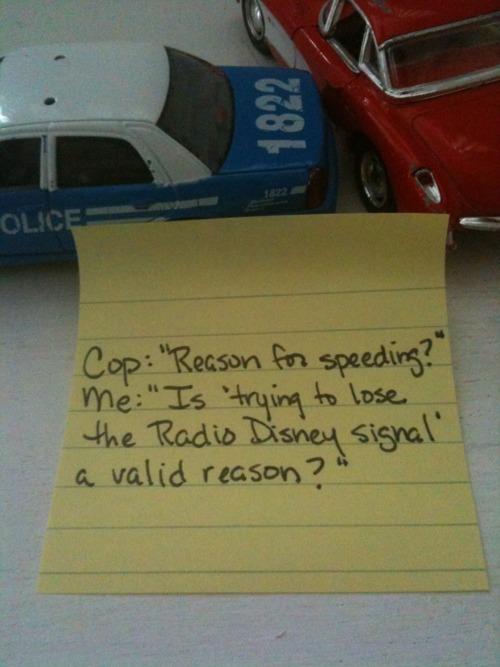 Reason I'm speeding note